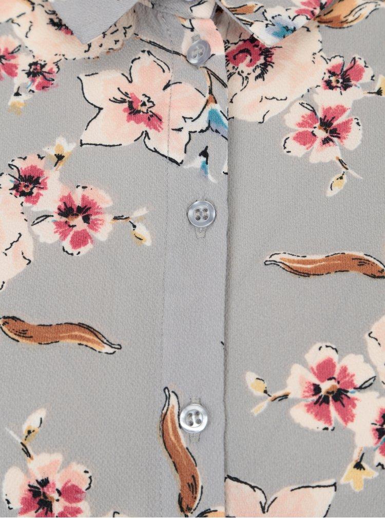 Šedé květované maxišaty Dorothy Perkins Petite