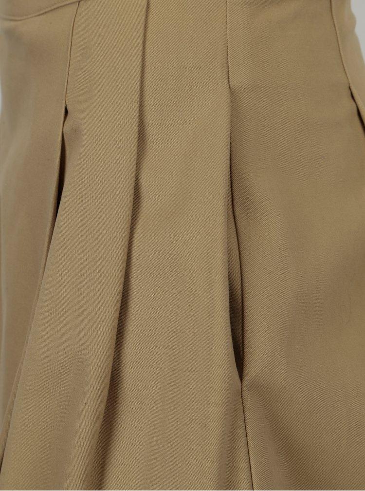 Béžová áčková sukně s vysokým pasem Makia