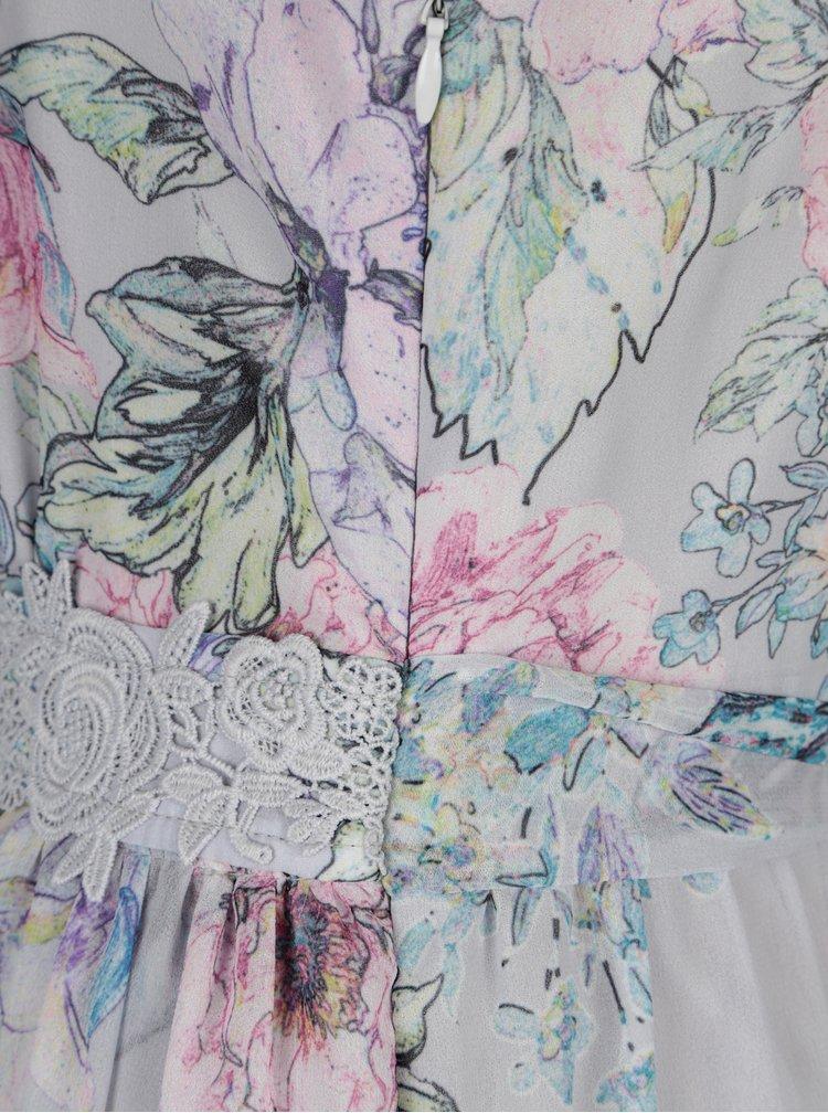 Světle šedé květované maxišaty s volány Dorothy Perkins