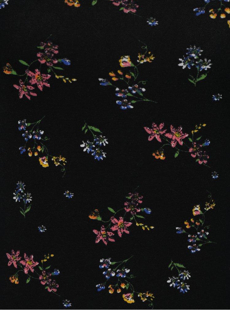Čierne kvetované tielko s úzkymi ramienkami TALLY WEiJL