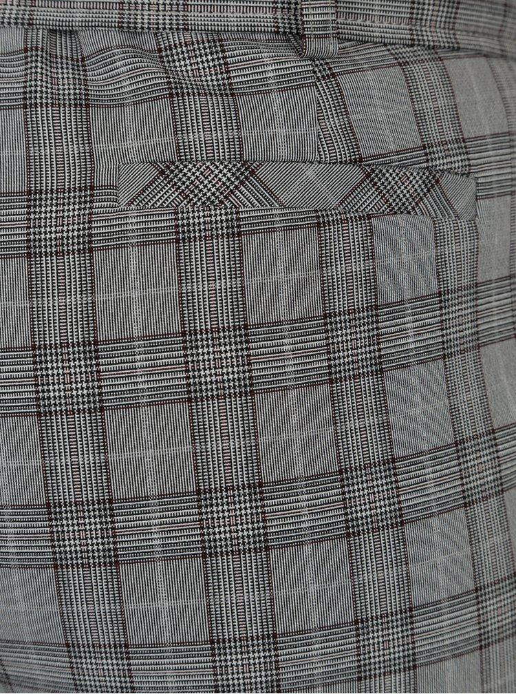 Sivé kockované skrátené nohavice s vysokým pásom a opaskom Dorothy Perkins