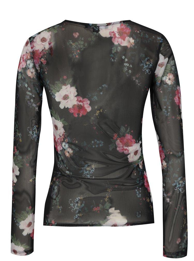 Bluza translucida neagra cu print floral TALLY WEiJL