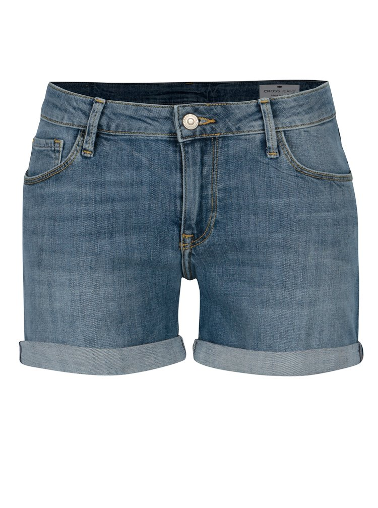 Modré dámské regular džínové kraťasy s nízkým pasem Cross Jeans