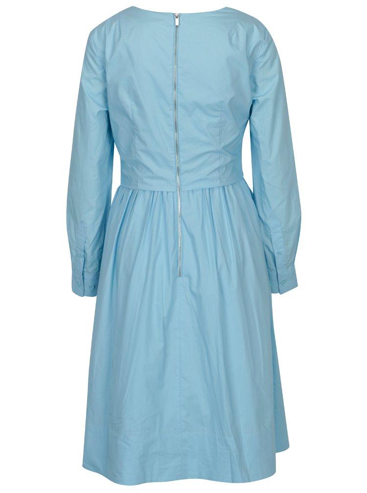 Světle modré áčkové šaty s překládaným výstřihem French Connection Eastside