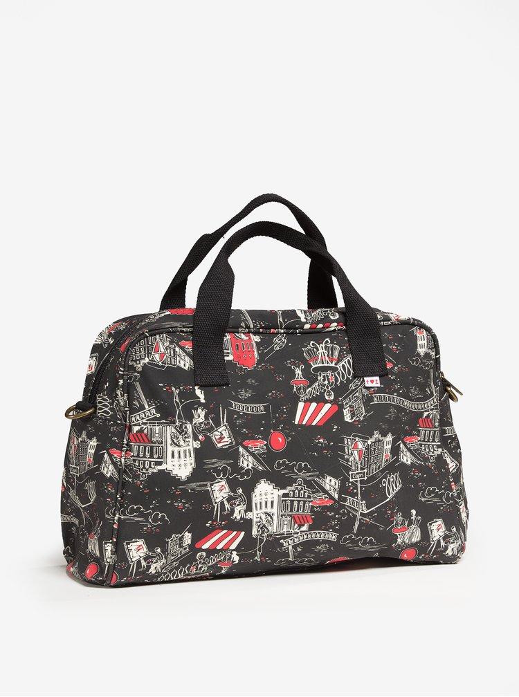 Černá vzorovaná cestovní taška Blutsgeschwister