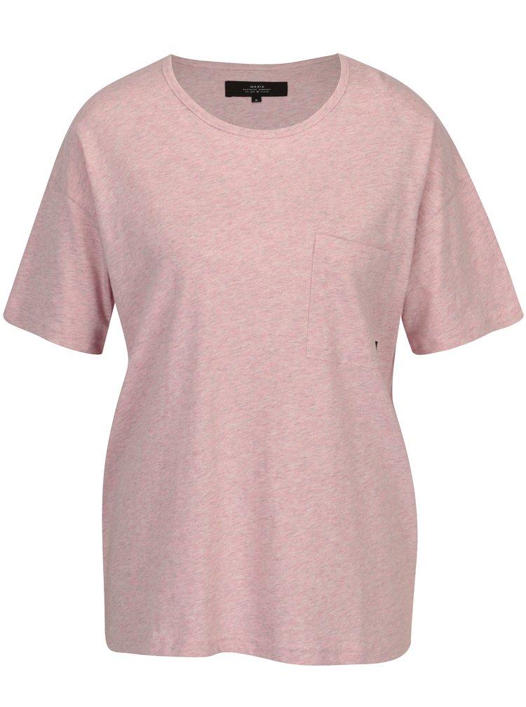 Světle růžové dámské žíhané oversize tričko Makia