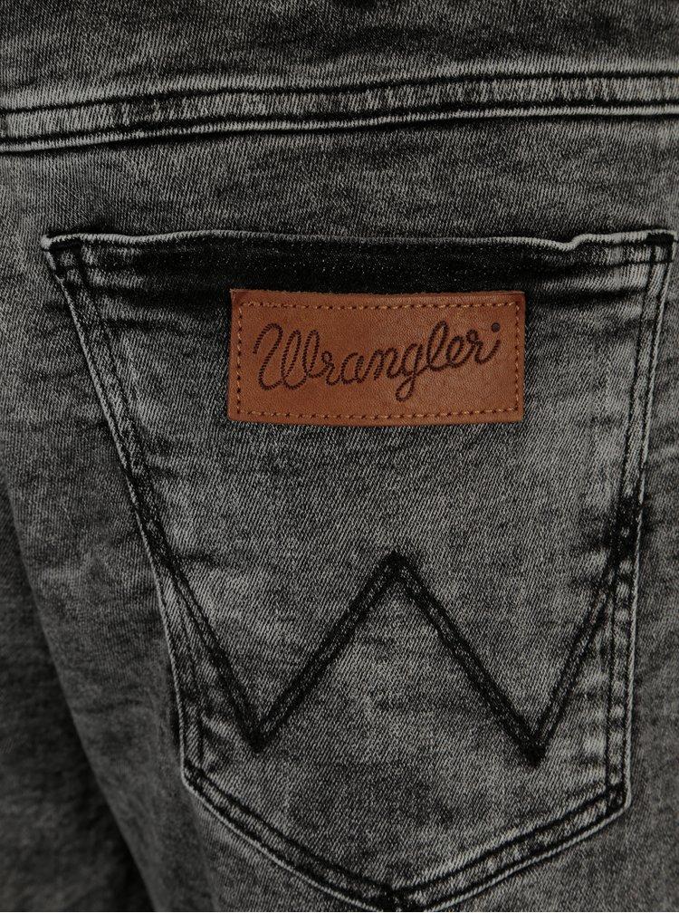 Tmavě šedé pánské džínové kraťasy Wrangler