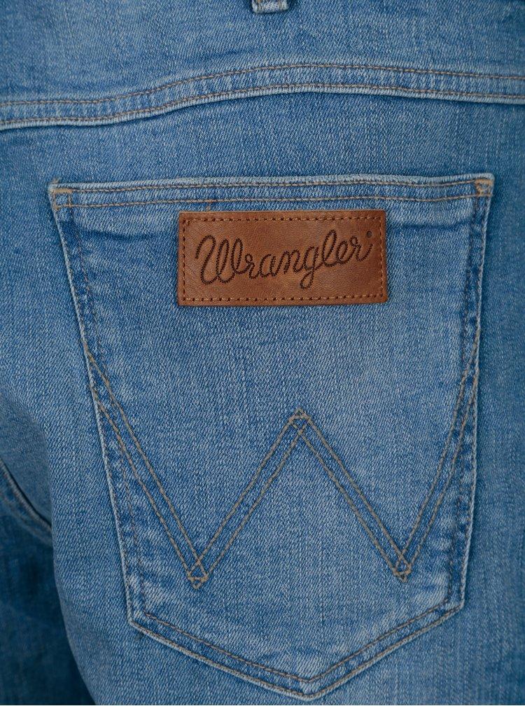 Modré pánské kraťasy s vyšisovaným efektem Wrangler