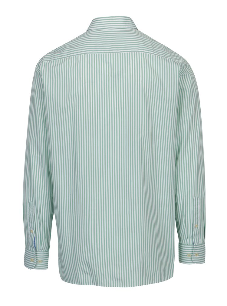 Bílo-zelená pruhovaná classic fit košile Hackett London
