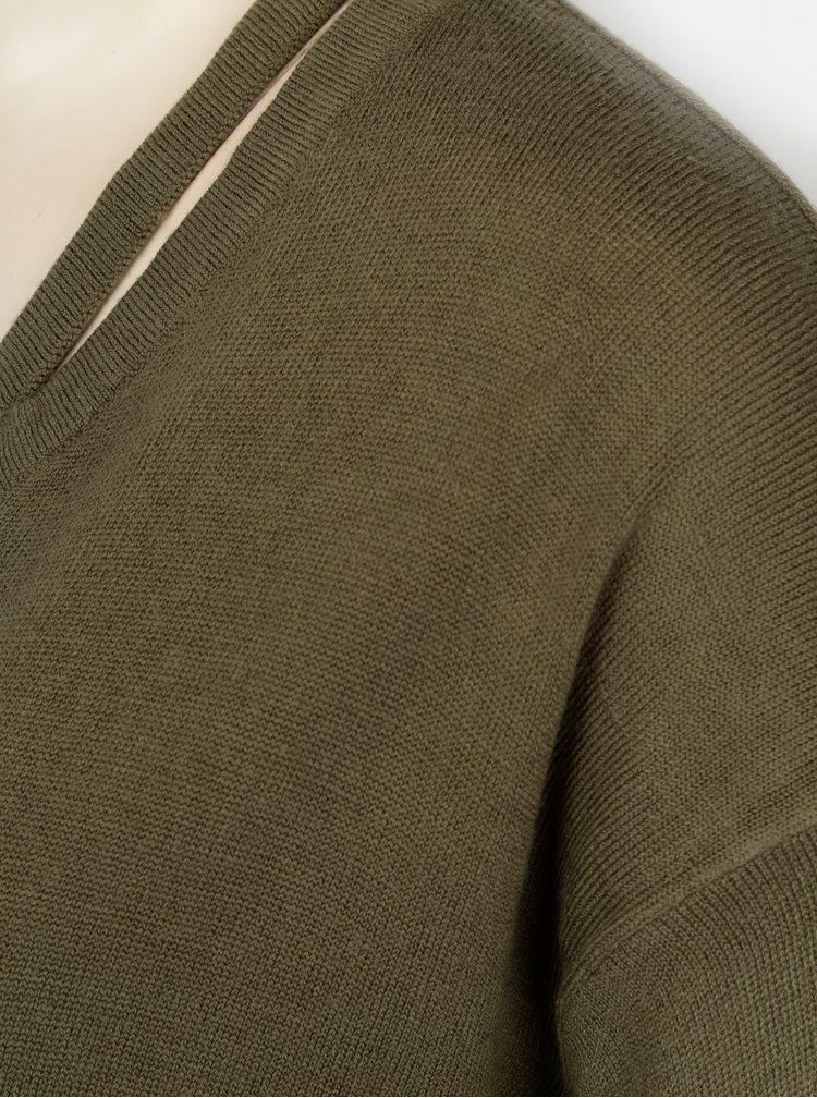 Khaki svetr s průstřihy Jacqueline de Yong More