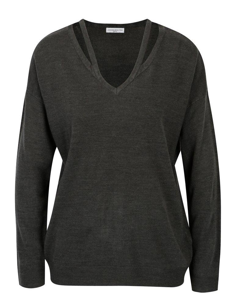 Tmavosivý sveter s prestrihmi Jacqueline de Yong More