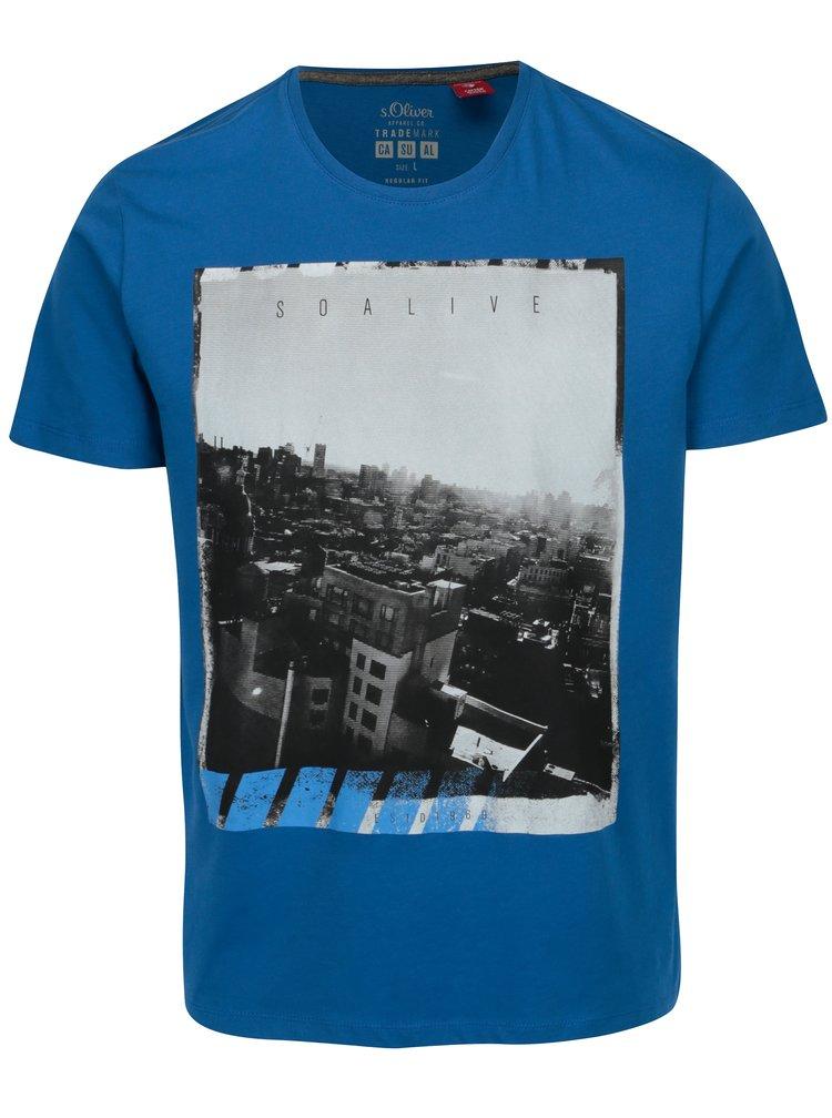 Modré pánske regular fit tričko s potlačou s.Oliver