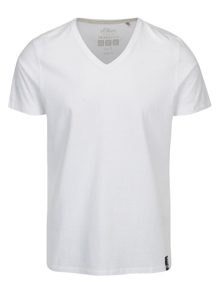 Tricou alb slim fit cu anchior pentru barbati s. Oliver