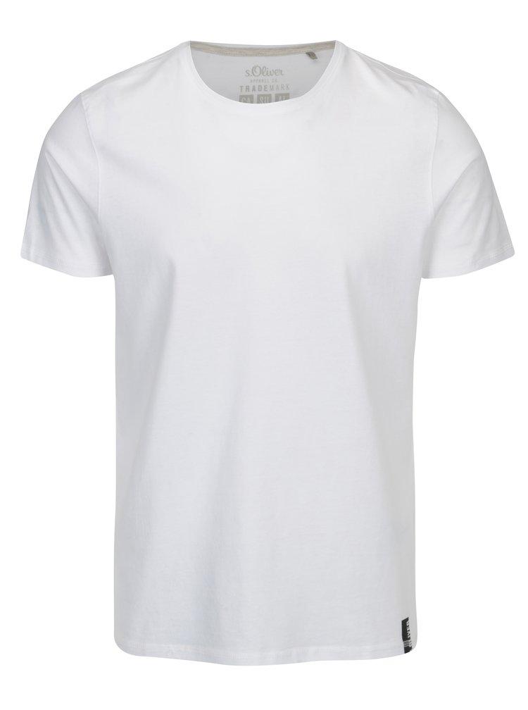 Bílé pánské regular fit basic tričko s kulatým výstřihem s.Oliver