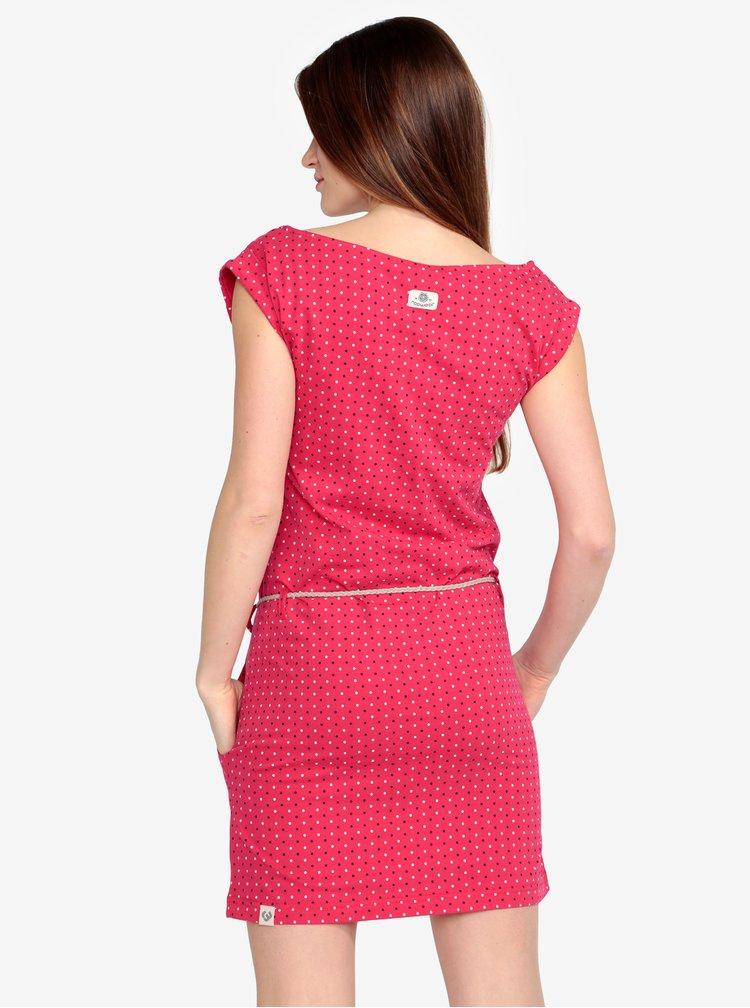Růžové puntíkované šaty s páskem Ragwear Tag Dots