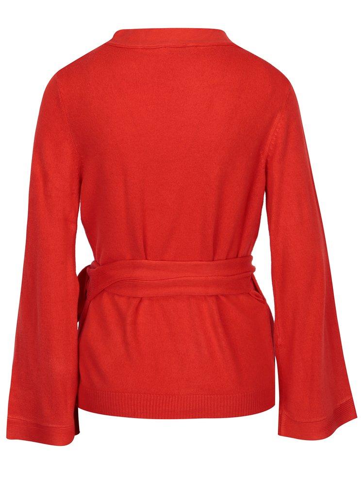 Červený zavinovací svetr Jacqueline de Yong Bella