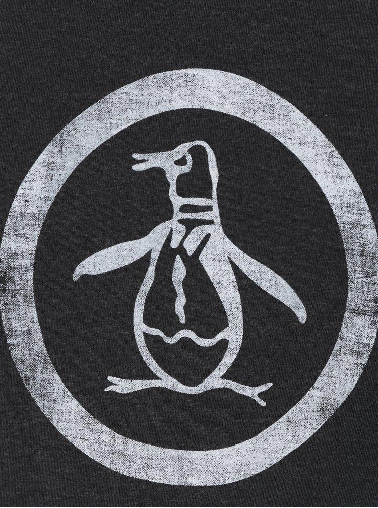 Tmavě šedé žíhané tričko s potiskem Original Penguin Distressed