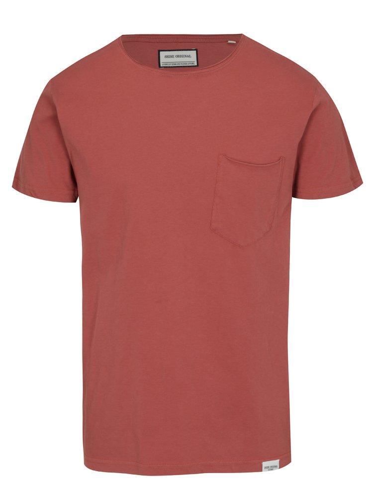 Cihlové tričko s kapsou Shine Original