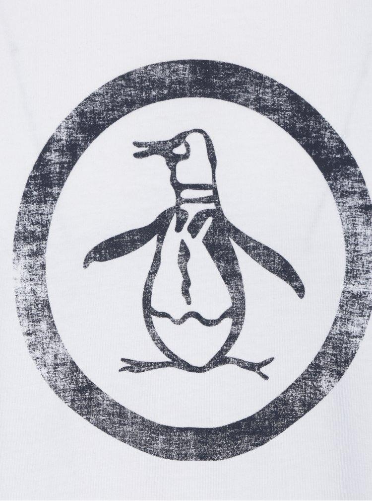 Bílé tričko s potiskem Original Penguin Distressed