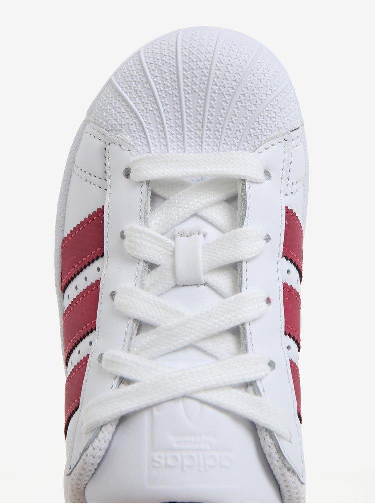 Bílé dětské kožené tenisky s červenými detaily adidas Originals