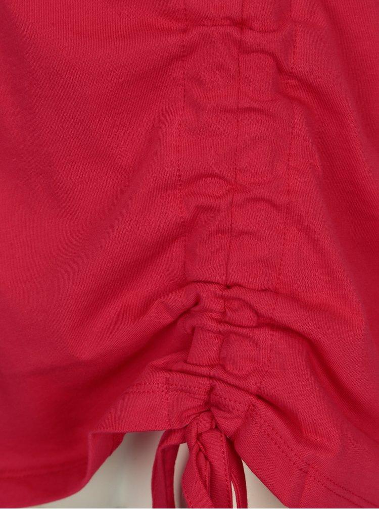 Tricou asimetric roz inchis cu snur ajustabil - ONLY Merle