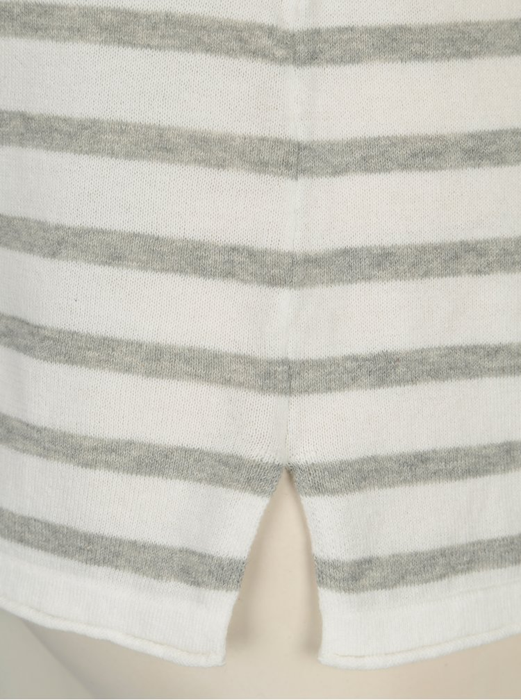 Sivo-krémový pruhovaný tenký sveter VERO MODA Sofia