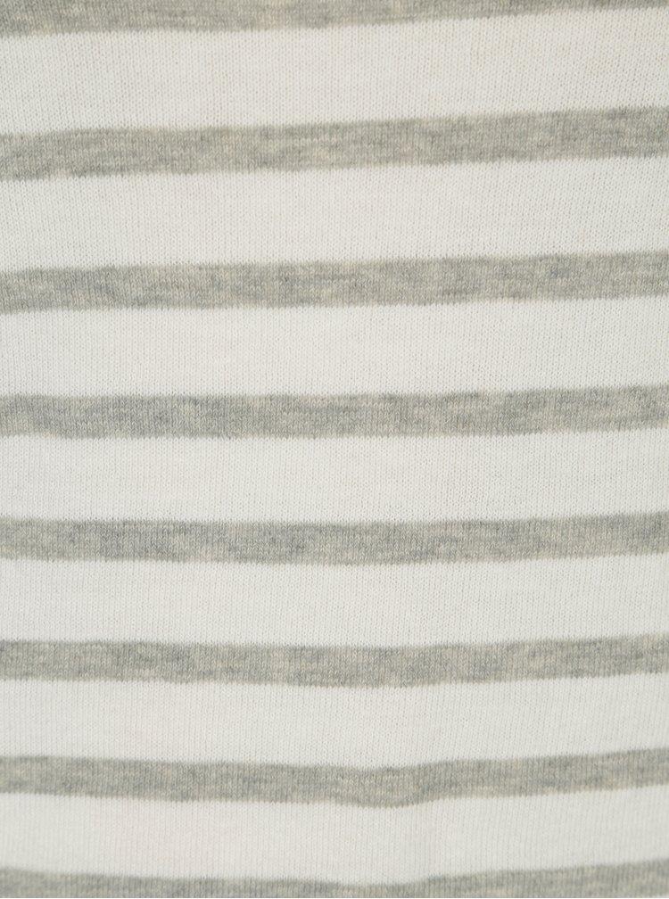 Šedo-krémový pruhovaný lehký svetr VERO MODA Sofia