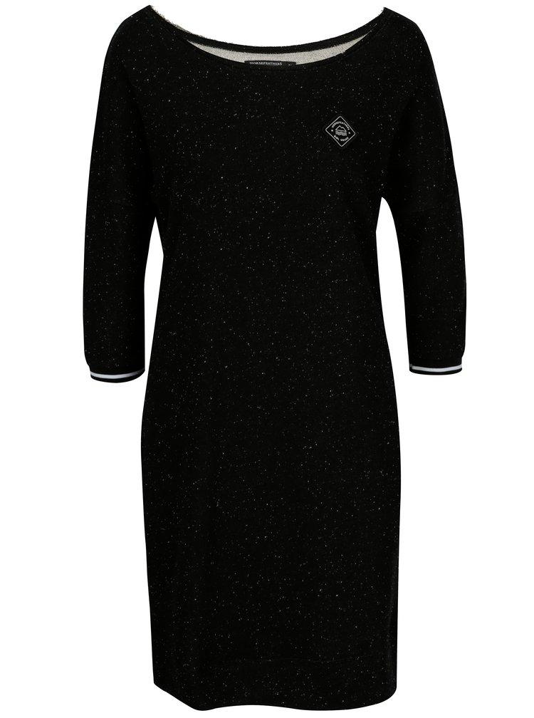 Černé mikinové žíhané šaty Horsefeathers Chicca