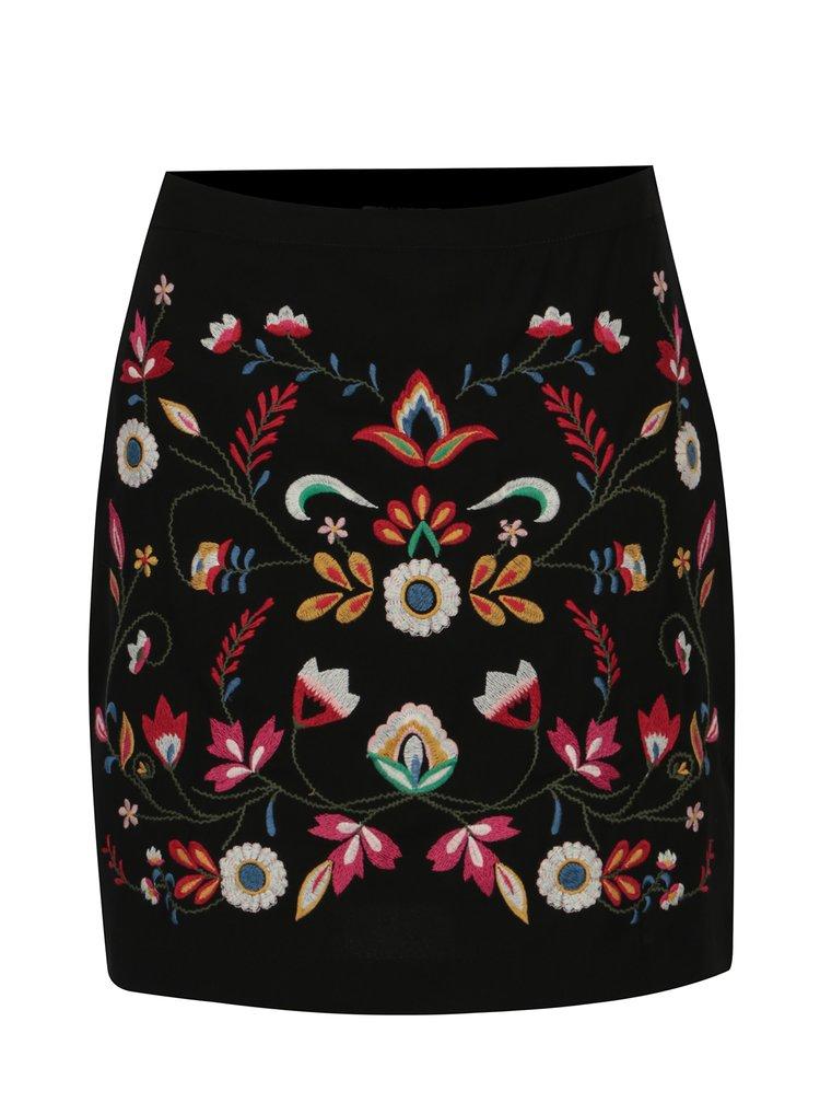 Černá mini sukně s výšivkou ONLY Jackie