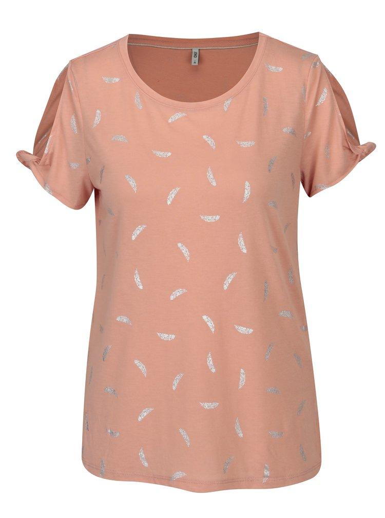Starorůžové tričko s potiskem a průstřihy na ramenou ONLY New Isabella