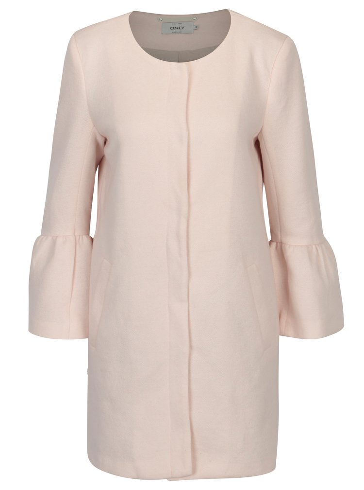 Světle růžový kabát s volány ONLY Sia