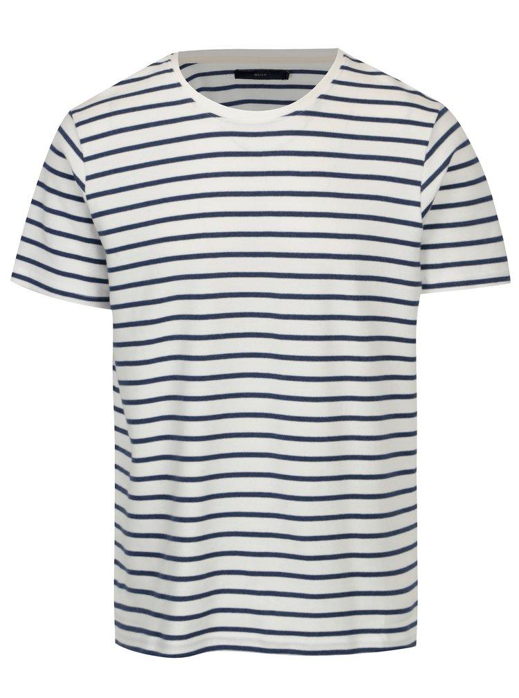 Modro-krémové pruhované tričko SUIT