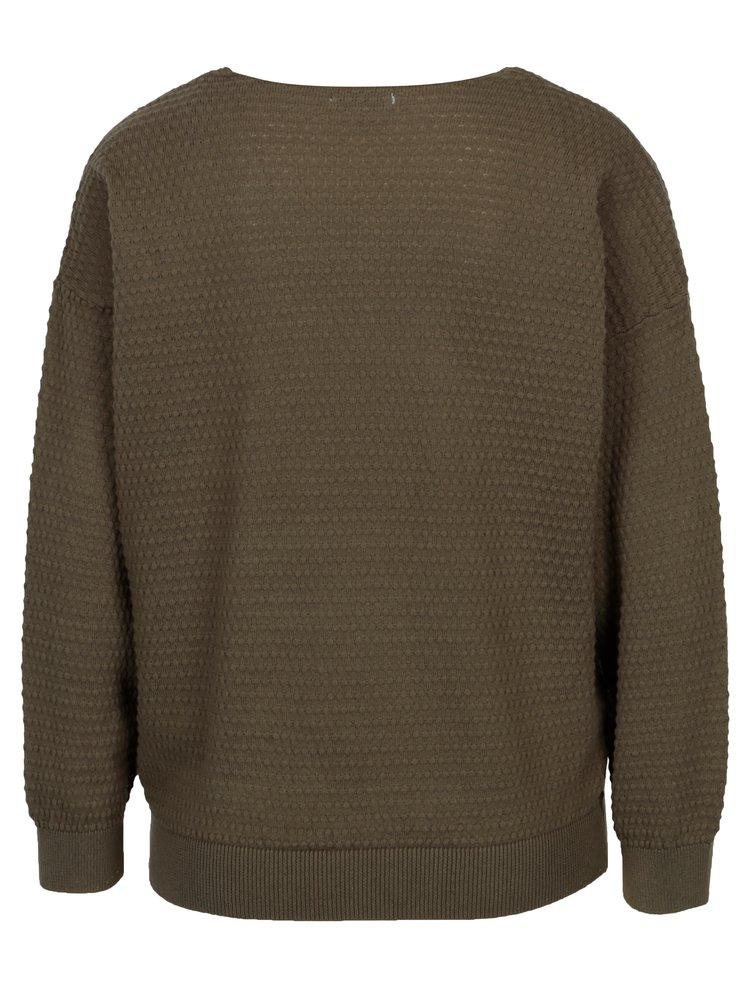 Khaki vzorovaný svetr Jacqueline de Yong Barbera