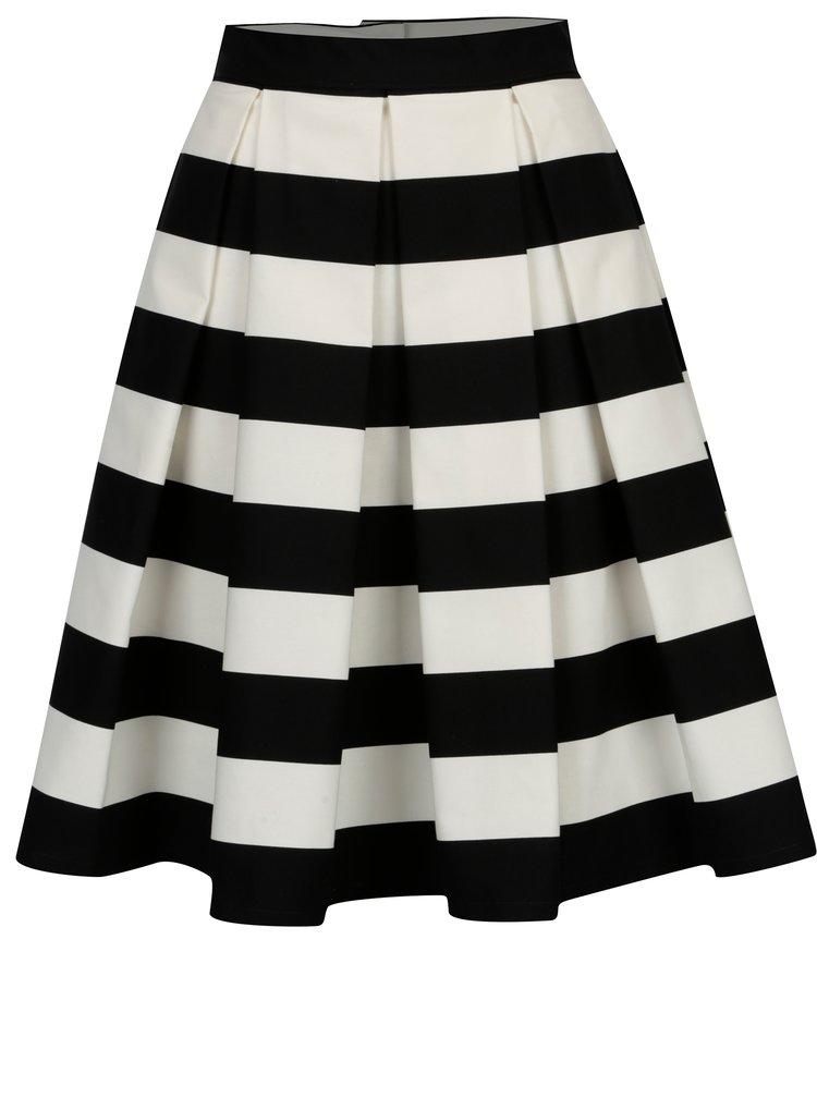Černo-krémová pruhovaná kolová sukně SAINT DOT Navy Black