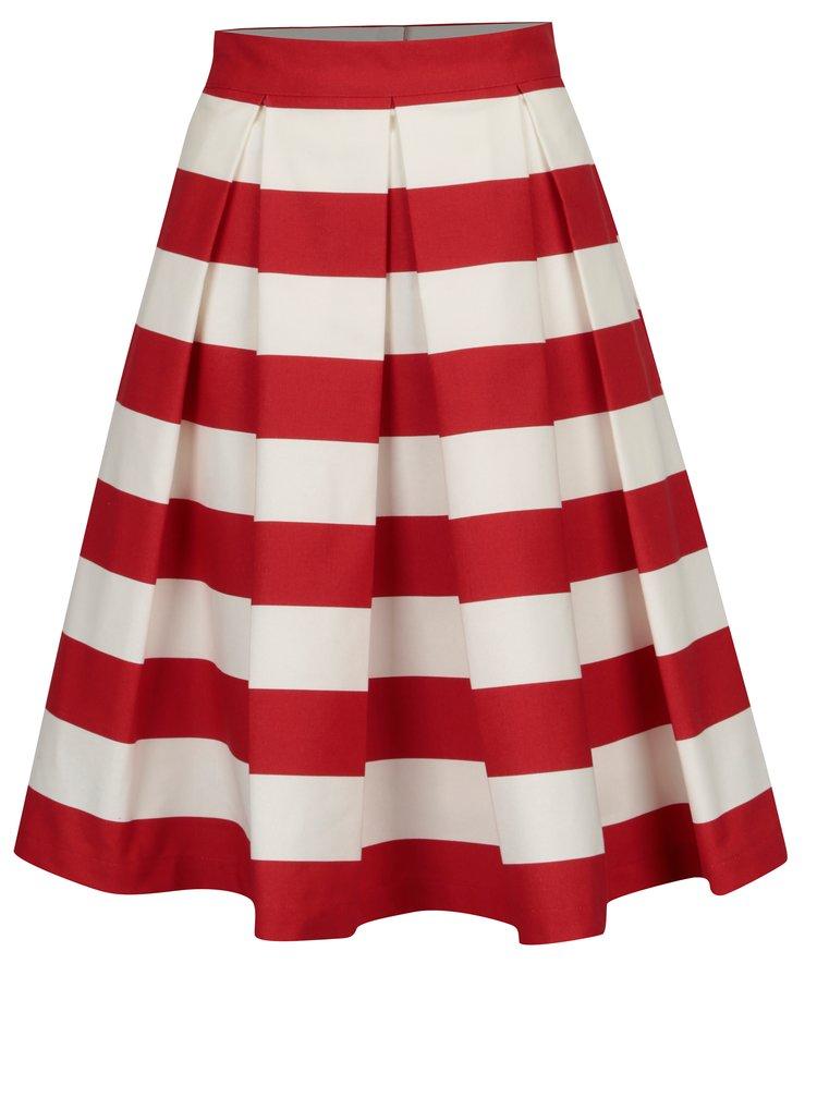 Červeno-krémová pruhovaná kolová sukně SAINT DOT Navy Red