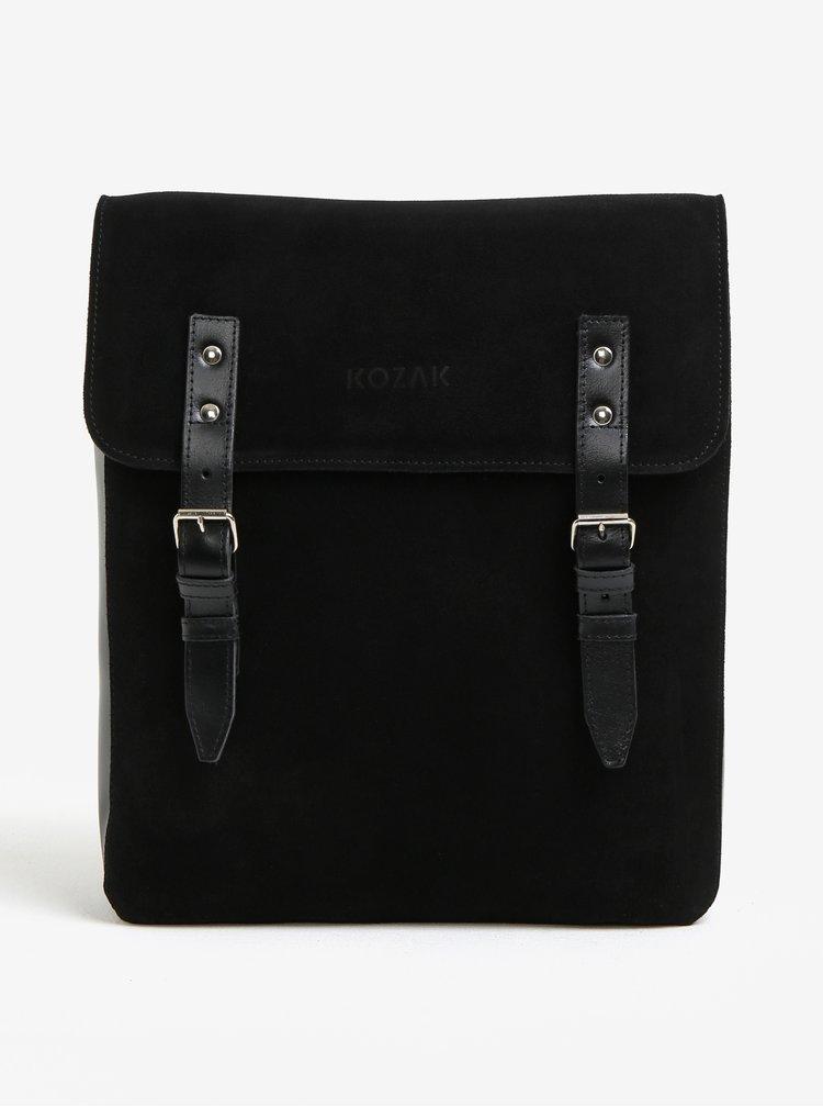 Černý semišový batoh s přezkami KOZAK YU II.