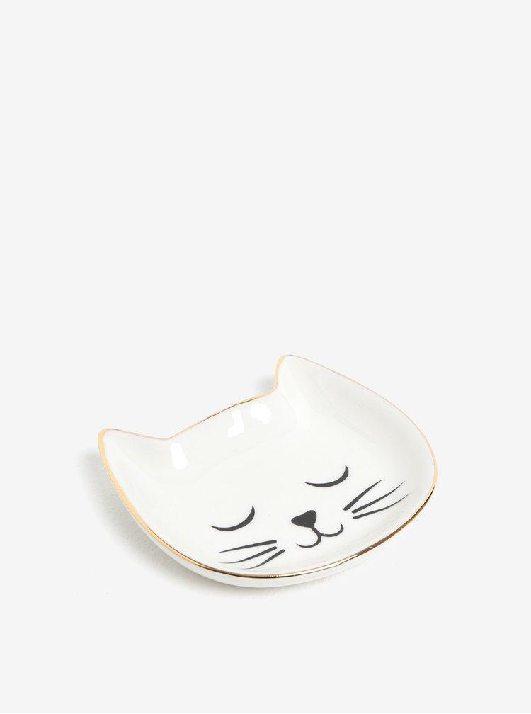 Krémový tanierik na šperky v tvare mačky Sass & Belle Cat´s Whiskers
