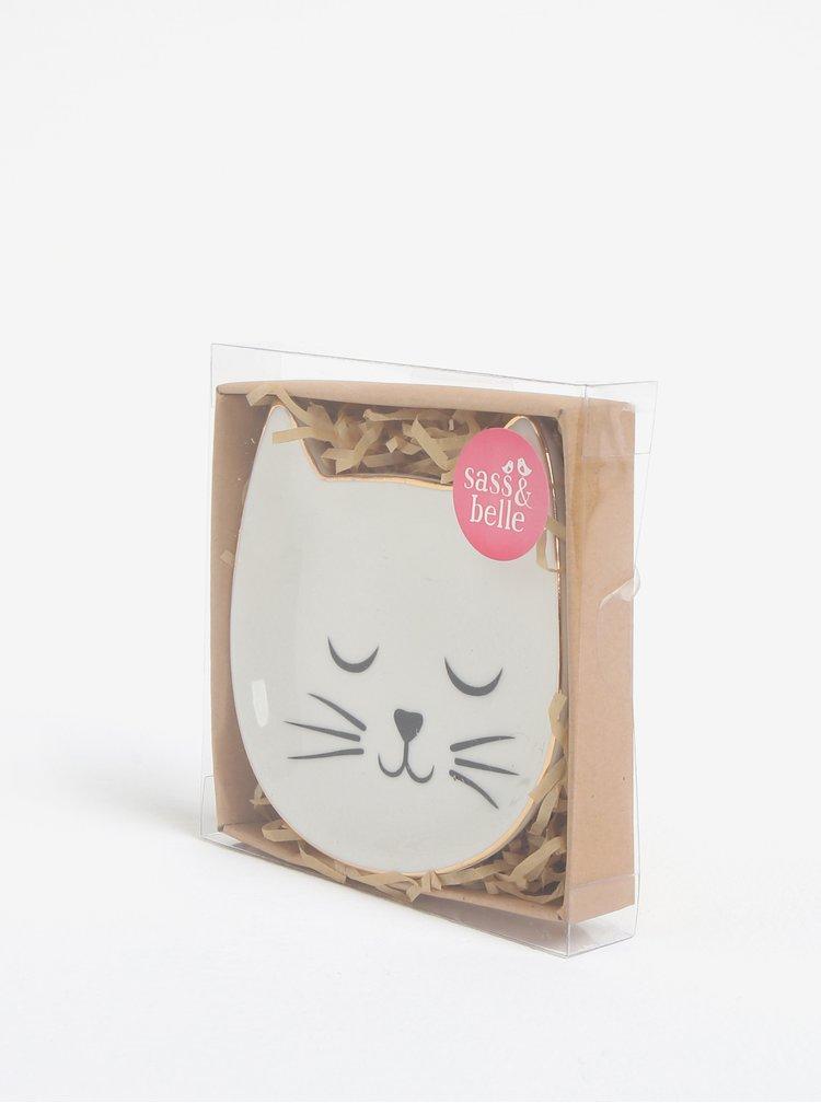 Krémový talířek na šperky ve tvaru kočky Sass & Belle Cat´s Whiskers