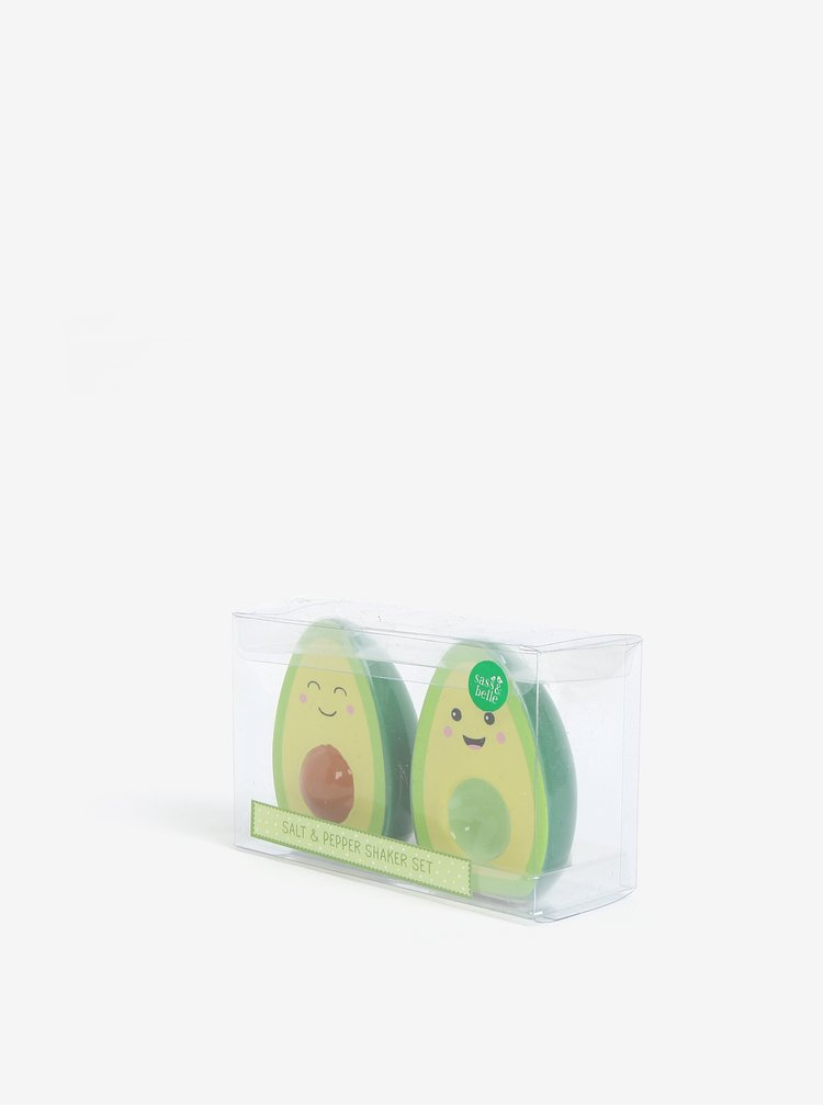 Zelený set solničky a pepřenky ve tvaru avokáda Sass & Belle Happy Avocado