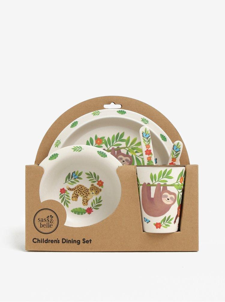 Krémový dětský jídelní set z eko plastu Sass & Belle