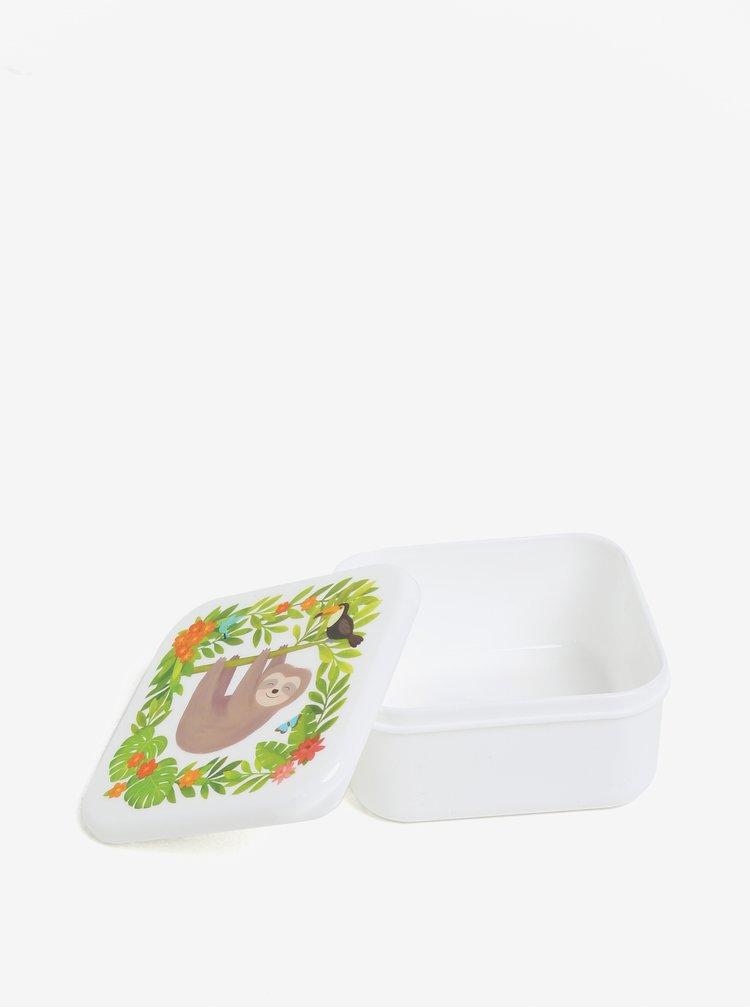 Zeleno-krémový box na jídlo s motivem lenochoda Sass & Belle Jungle Friends