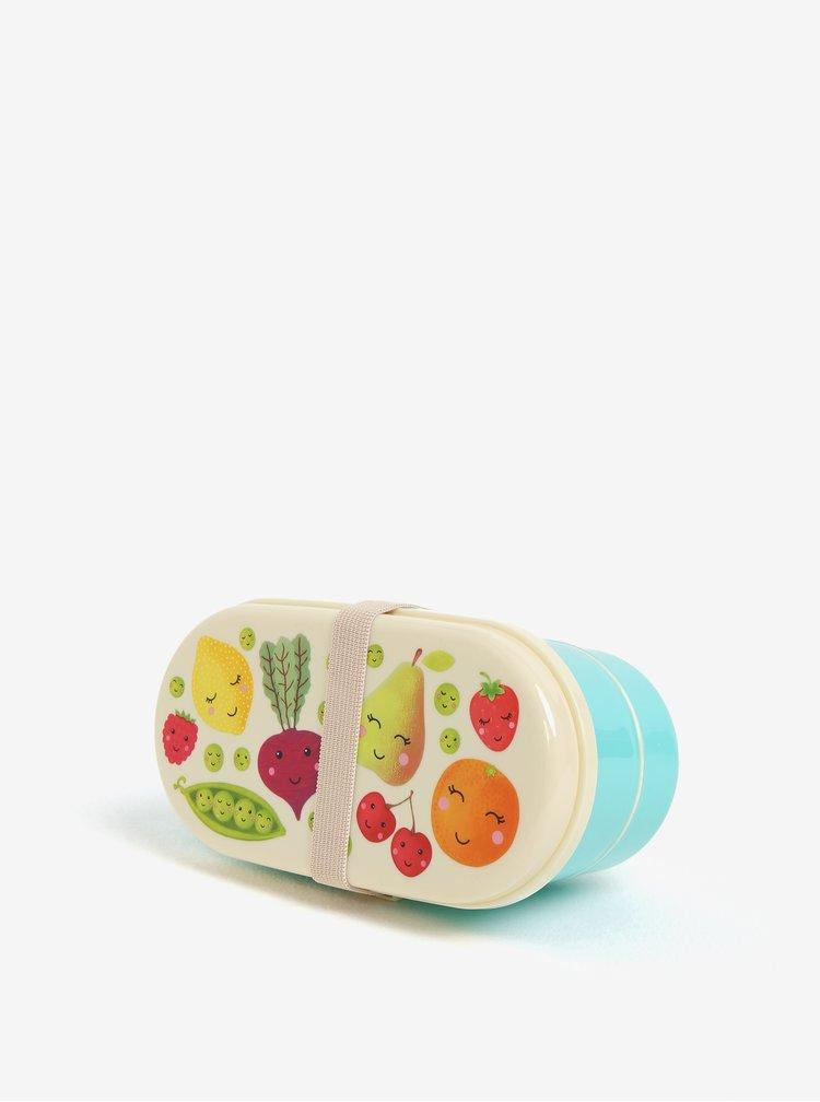 Tyrkysový box na jídlo s potiskem ovoce a zeleniny Sass & Belle Happy Fruit & Veg