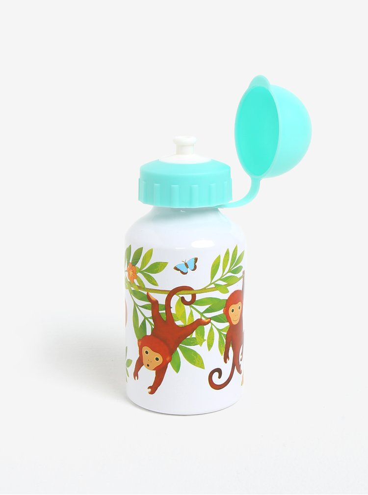 Bílá láhev s potiskem opice a lenochoda Sass & Belle Jungle Friends