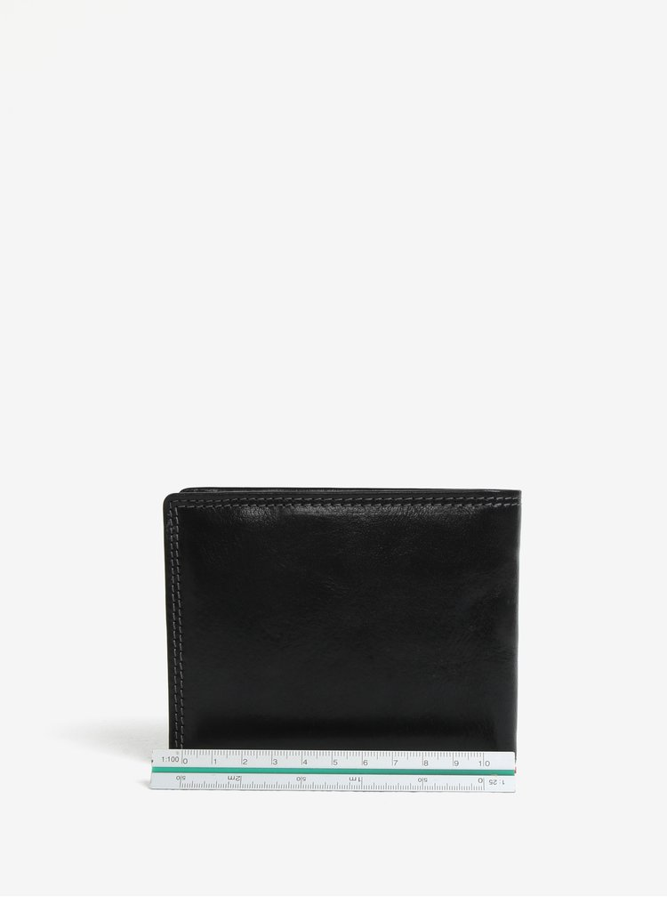 Černá pánská kožená peněženka s gravíovaným logem KARA
