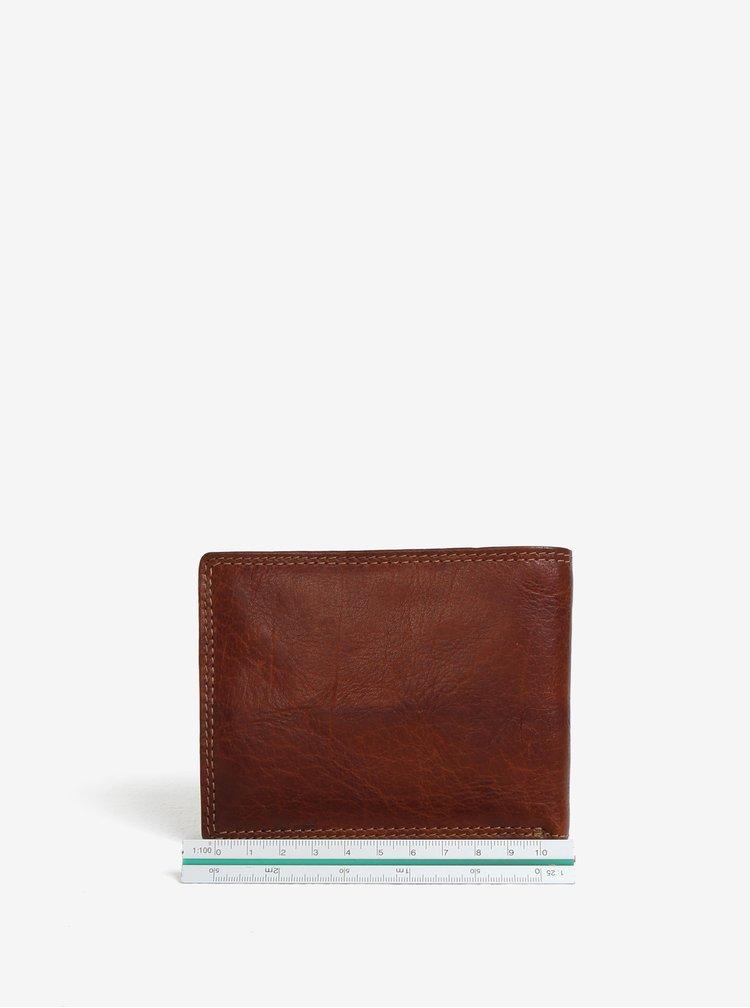 Hnědá pánská kožená peněženka s gravírovaným logem KARA