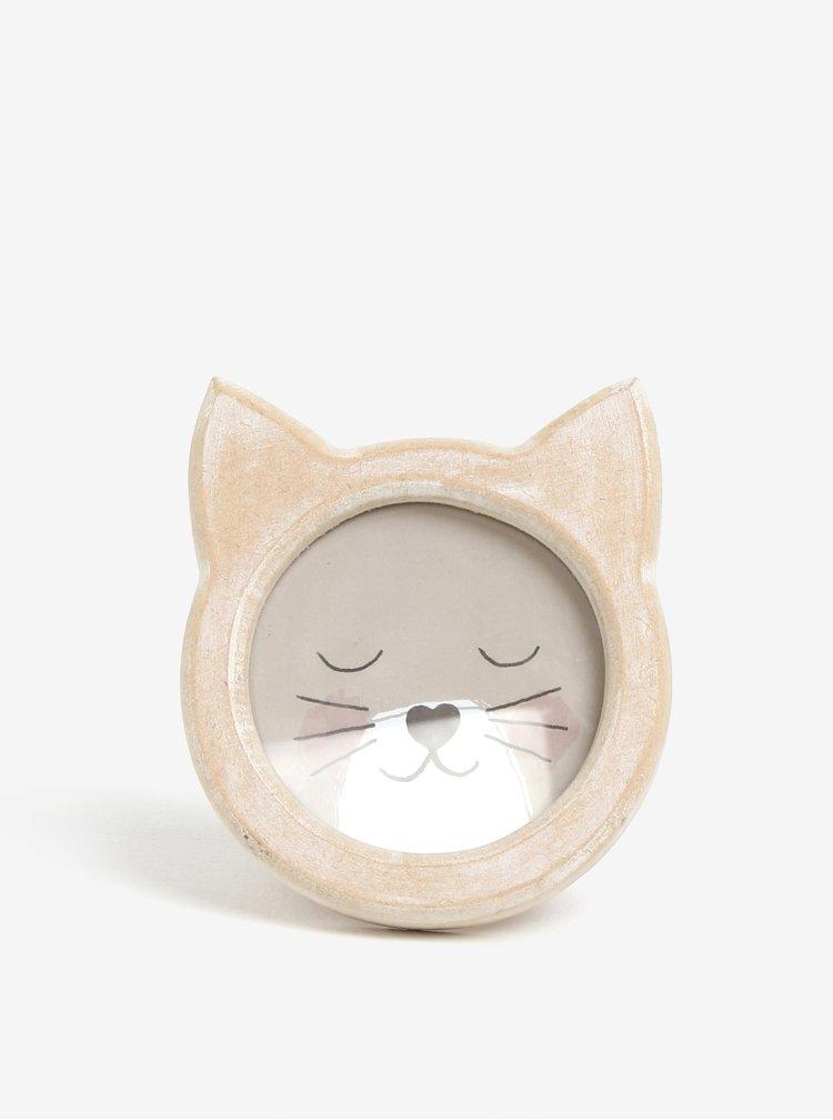 Béžový dětský rámeček na fotky ve tvaru kočky Sass & Belle Cat