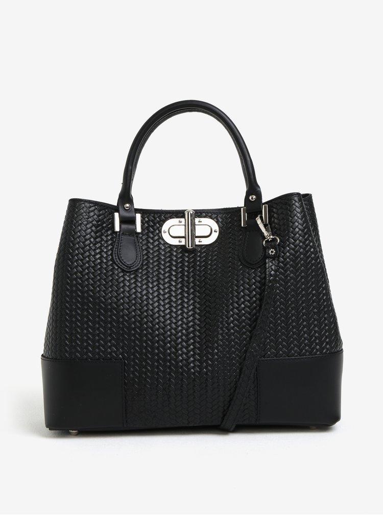 Černá dámská kožená kabelka se vzorem KARA