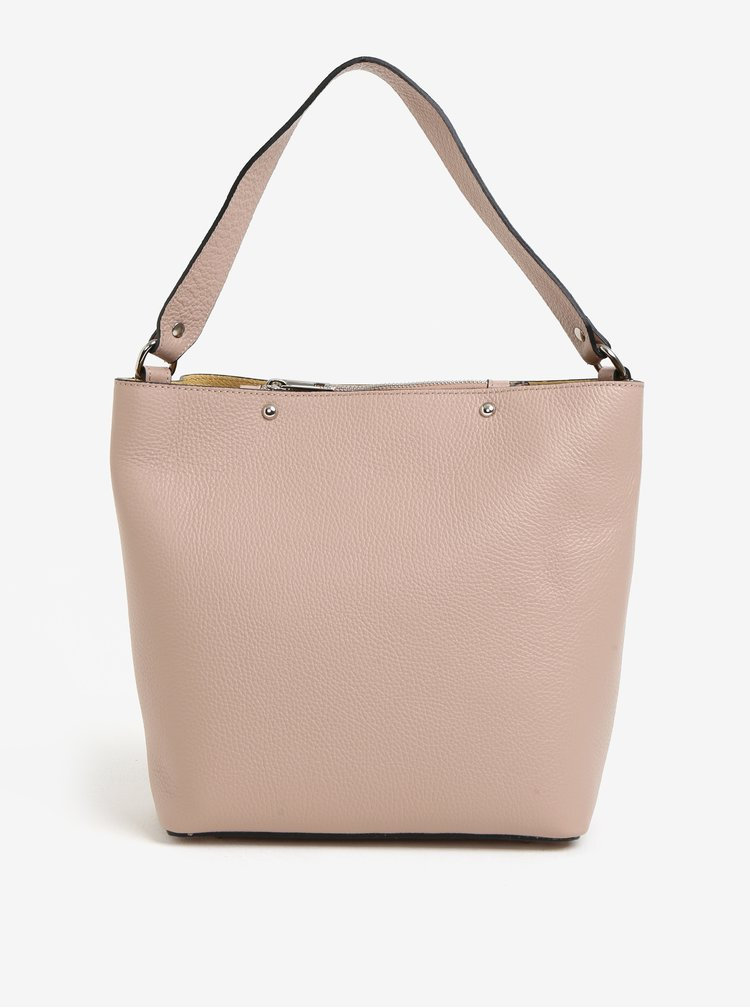 Světle růžový dámský kožený shopper s pouzdrem 2v1 KARA