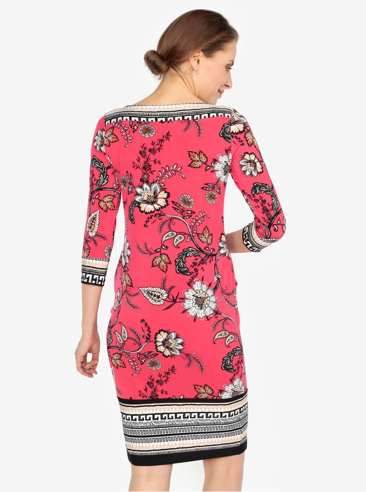 Rochie rosie cu print floral si maneci 3/4 - M&Co