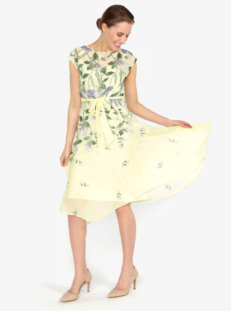 Žluté vzorované šaty s páskem M&Co